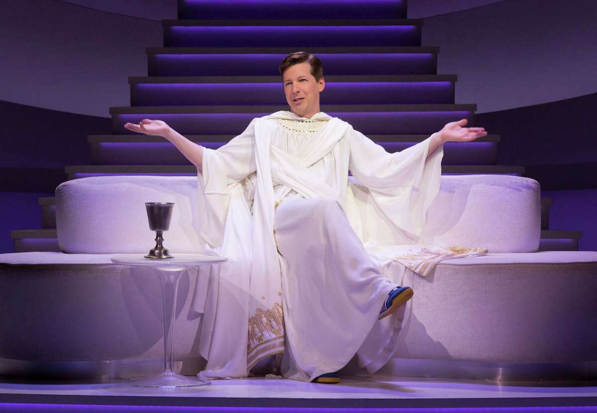 """This image released by Polk & Co. shows Sean Hayes portraying God in a scene from """"An Act of God."""" He has the title role in the West Coast production of the play, a cheeky take on the Almighty and what he really thinks of his imperfect human charges. (Jim Cox/Polk & Co. via AP) ORG XMIT: NYET441"""