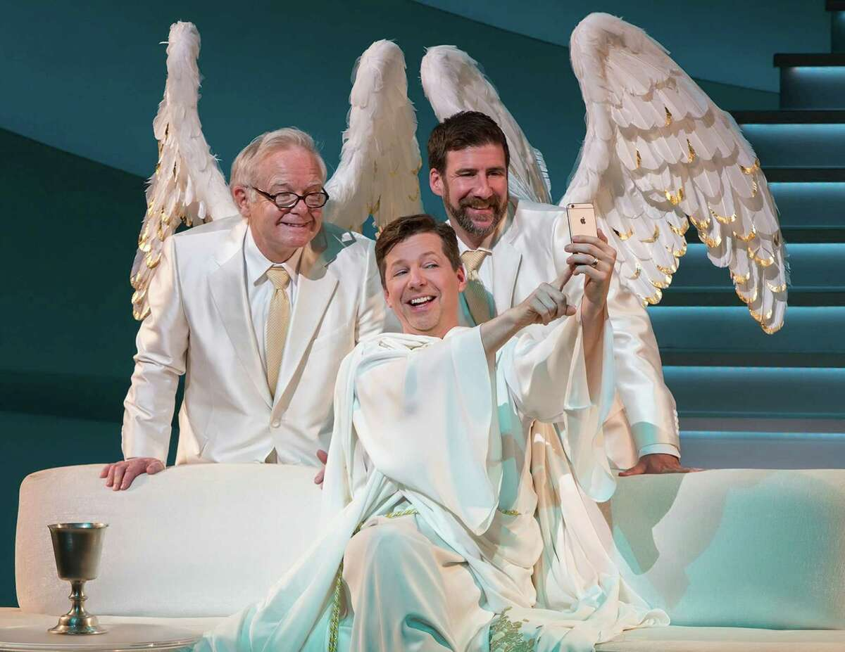 """This image released by Polk & Co. shows James Gleason, from left, Sean Hayes and David Josefsberg in a scene from """"An Act of God."""" Hayes has the title role in the West Coast production of the play, a cheeky take on the Almighty and what he really thinks of his imperfect human charges.(Jim Cox/Polk & Co. via AP) ORG XMIT: NYET442"""