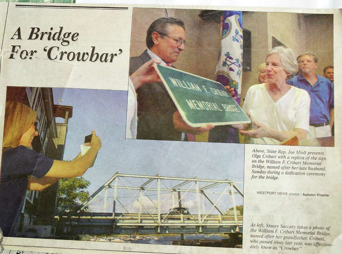 Included among the memorabilia that William F. Cribari's children have saved about their father is this clip from the Westport News about the state's naming of the Saugatuck swing bridge in his memory.