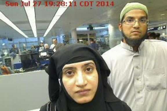 FILE -- In a handout photo provided by U.S. Customs and Border Protection, Tashfeen Malik and Syed Rizwan Farook, the couple who massacred 14 people in San Bernardino on Dec. 2, 2015, at O'Hare International Airport in Chicago, July 27, 2014. The discovery of  old social media posts by Malik openly expressing her desire to take part in violent jihad has exposed a significant  shortcoming in how foreigners are screened when they enter the U.S. (U.S. Customs and Border Protection via The New York Times) -- EDITORIAL USE ONLY