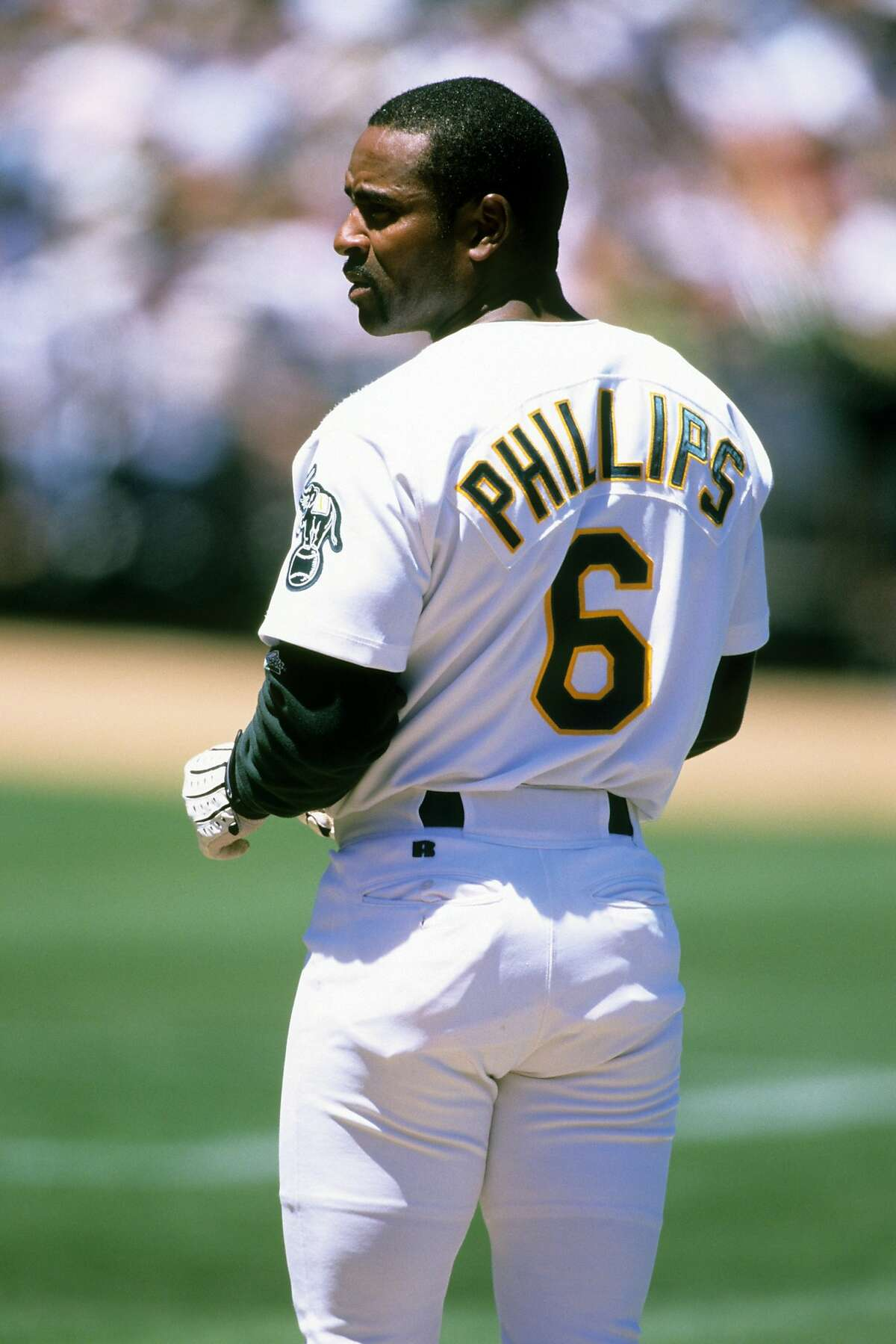 Tony Phillips of the Oakland Athletics looks on during the game against the Los Angeles Dodgers at Network Associates Coliseum on June 13, 1999 in Oakland, California.