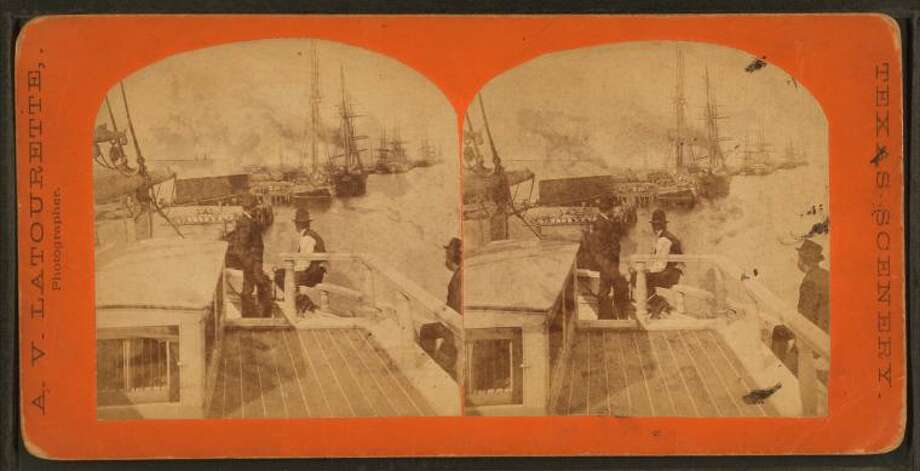 These images from the New York Public Library's digital collection were viewed with a steroscope, which combined two photos taken at different angles to give the illusion of depth. Click through the slideshow to see photos of life in San Antonio, Dallas, Austin and other Texas cities in the late 1800s.Galveston  View of the wharf, 1800s (A.V. Latourette) Photo: New York Public Library