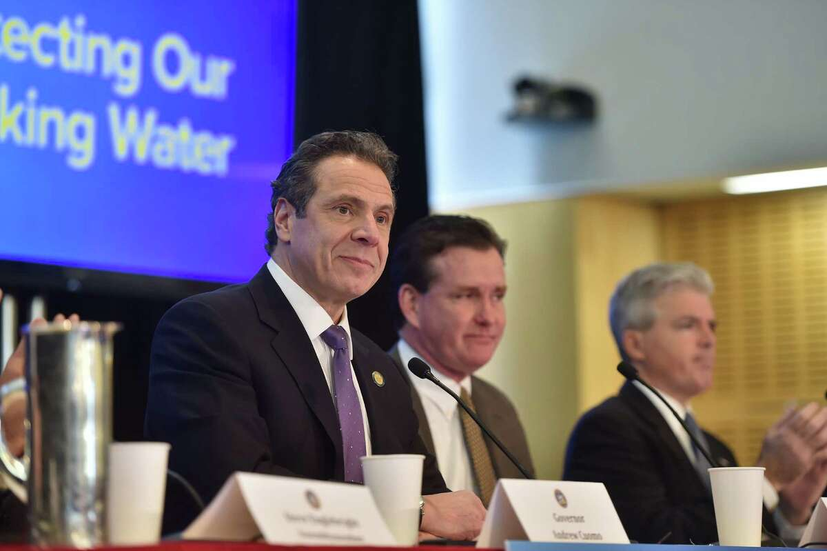 Gov. Andrew Cuomo speaks at Stony Brook University on New York State's efforts to protect drinking water sources and clean up areas where the water quality has been affected around the state on Thursday, Feb.18, 2016, at Stony Brook, N.Y. The state is creating a water quality rapid-response team to deal with contamination problems like those that left residents in the Hoosick Falls area reeling. (Kevin P. Coughlin/Office of Governor Andrew M. Cuomo)