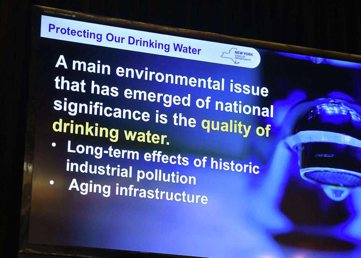 Slide from a presentation by Gov. Andrew M. Cuomo at Stony Brook University on New York State?'s efforts to protect drinking water sources and clean up areas where the water quality has been affected around the state on Thursday, Feb. 18, 2016, in Stony Brook, N.Y. The state is creating a water quality rapid-response team to deal with contamination problems like those that left residents in the Hoosick Falls area reeling. (Kevin P. Coughlin/Office of Governor Andrew M. Cuomo)