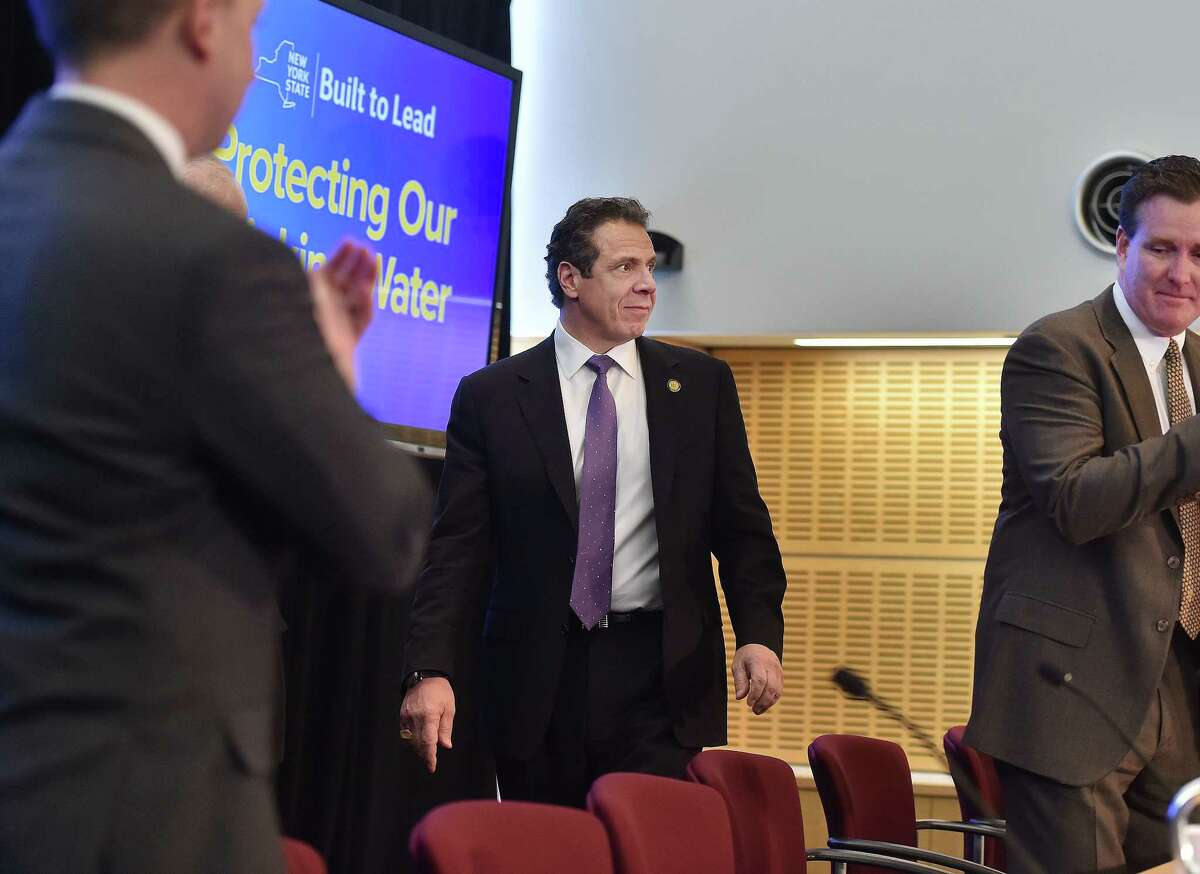 Gov. Andrew M. Cuomo arrives at Stony Brook University to speak on New York State's efforts to protect drinking water sources and clean up areas where the water quality has been affected around the state on Thursday, Feb.18, 2016, at Stony Brook, N.Y. The state is creating a water quality rapid-response team to deal with contamination problems like those that left residents in the Hoosick Falls area reeling. (Kevin P. Coughlin/Office of Governor Andrew M. Cuomo)