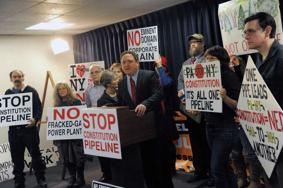 Roger Downs of the Sierra Club joins others to denounce the Federal Energy Regulatory Commission?'s (FERC) premature approval of mass tree cutting along the 25 mile Pennsylvanian route of the proposed Constitution Pipeline during a press conference at the Legislative Office Building on Thursday Feb. 18, 2016 in Albany, N.Y. New York. (Michael P. Farrell/Times Union)