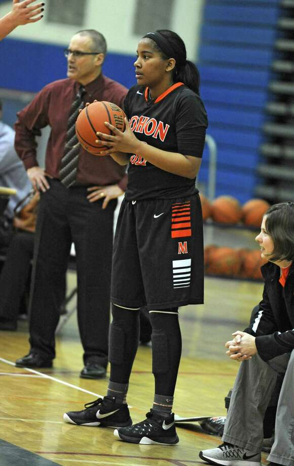 Mohonasen's Saeeda Abdul-Aziz in bounds the ball during the last seconds a basketball game against Saratoga on Monday, Jan. 25, 2016 in Saratoga Springs, N.Y.  (Lori Van Buren / Times Union) Photo: Lori Van Buren / 10035100A