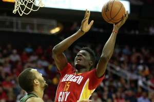 Houston Rockets forward Clint Capela (15) drives the basket in the second half against Utah Jazz on Thursday, Jan. 7, 2016, in Houston. Rockets won the game 103-94.( Elizabeth Conley / Houston Chronicle )