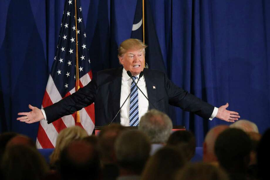 """Donald Trump speaks during a campaign rally at the Turtle Point Golf Resort in Kiawah Island, S.C. The GOP hopeful said it was """"disgraceful"""" that the pope questioned his faith. Photo: Jim Wilson / New York Times / NYTNS"""