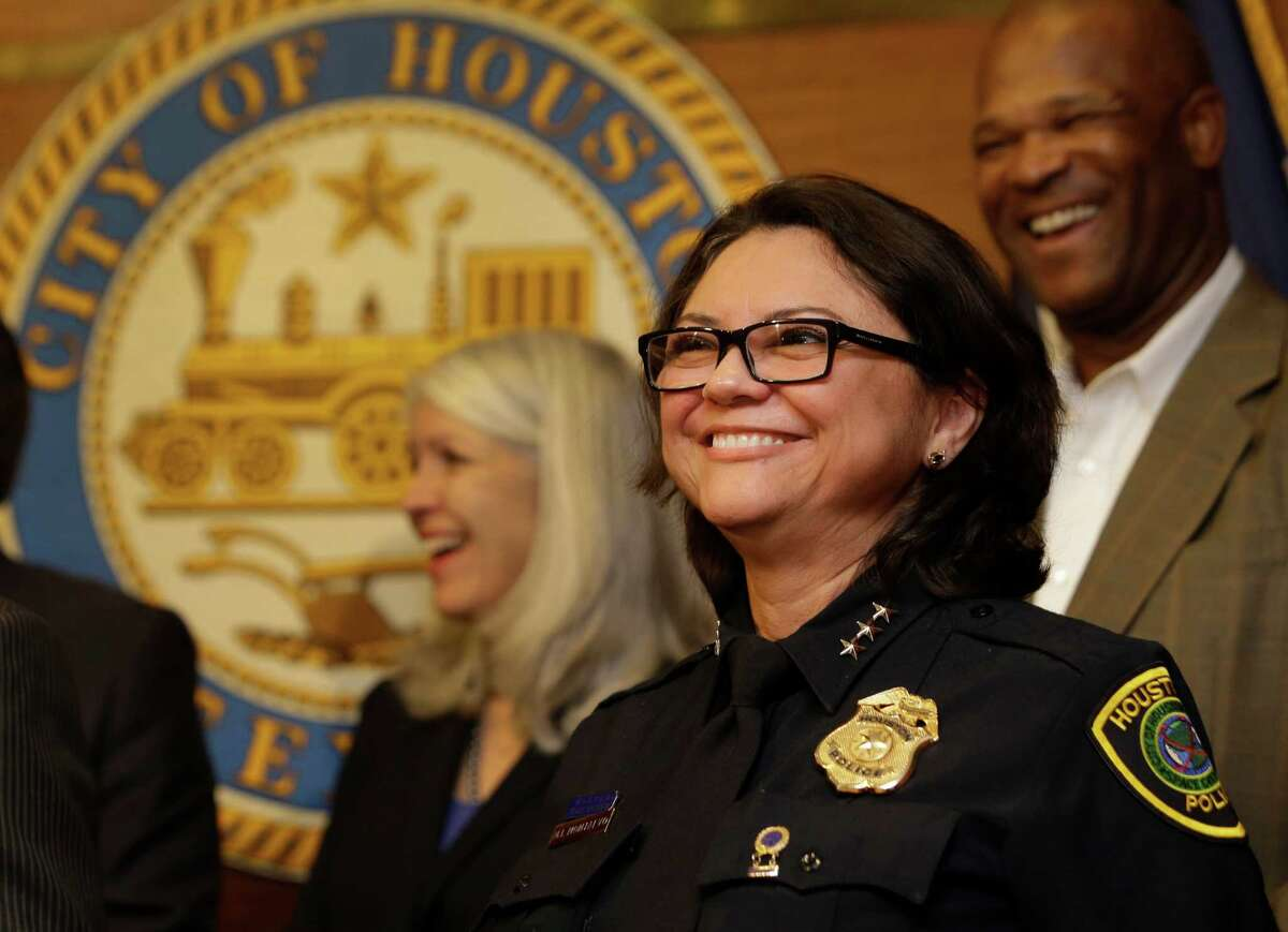 Martha Montalvo during media conference where she was named as interim police chief by Mayor Turner Thursday, Feb. 18, 2016, in Houston. The 56-year-old veteran has been McClellan's chief of staff since 2004.