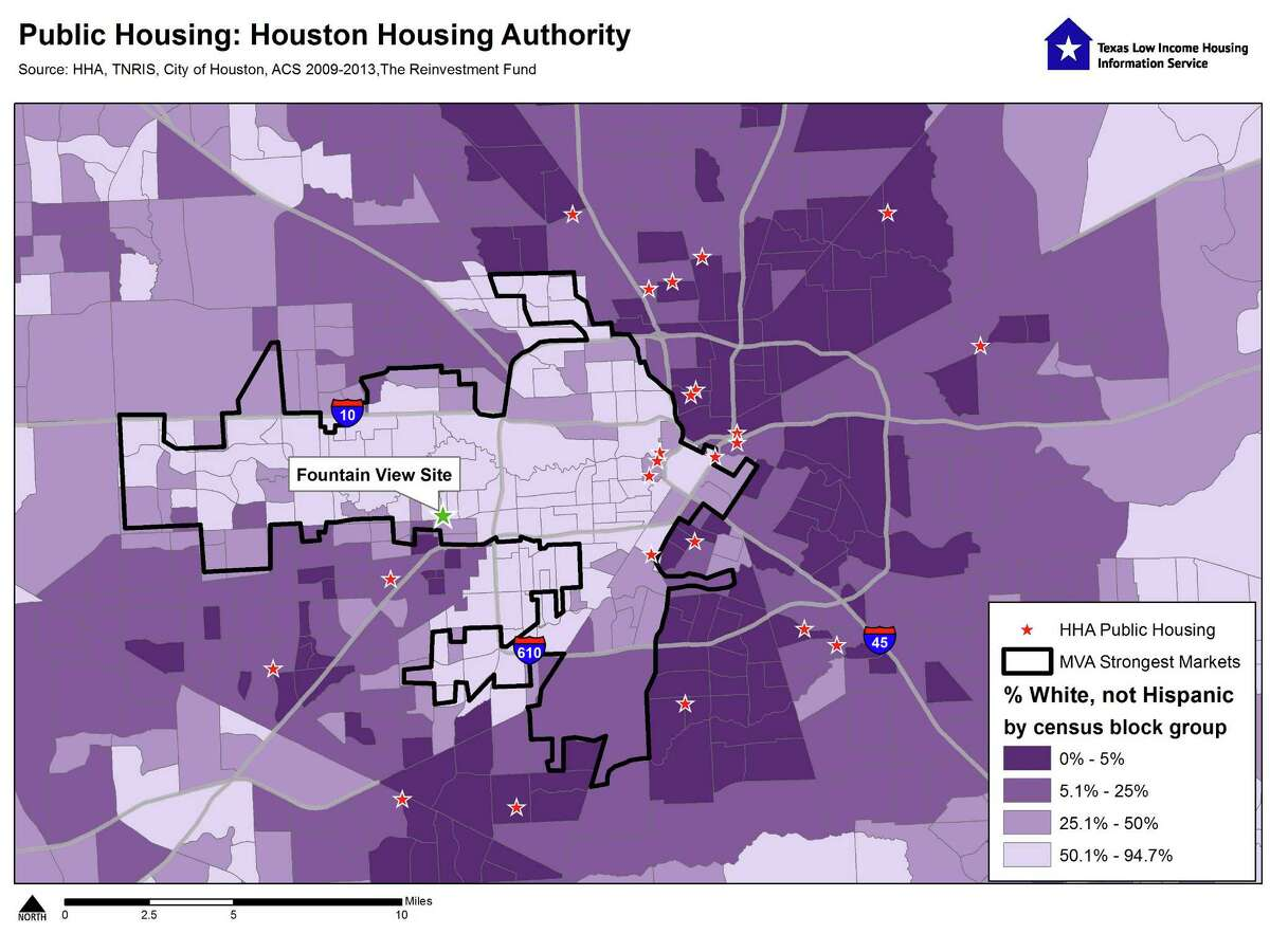 This map shows the proposed site of a Houston Housing Authority mixed-income project planned for 2640 Fountain View. It also shows the other existing projects by the housing authority.