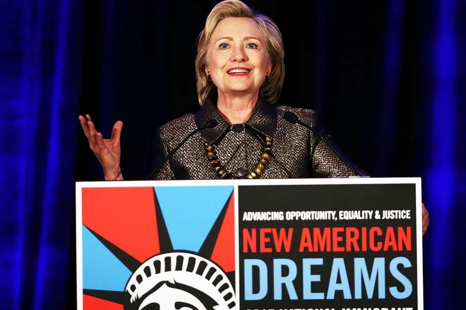 Democratic presidential candidate Hillary Clinton speaks during the National Immigrant Integration Conference on Dec. 14 in New York City.She will speak Saturday at Texas Southern University.Keep going to see the highlights from Clinton and Sanders in Milwaukee.  Photo: Getty Images
