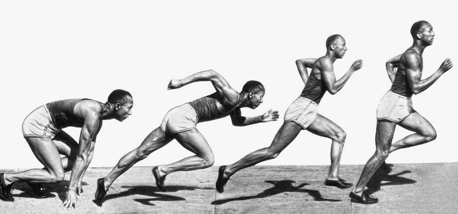 A composite of images of track star Jesse Owens showing sprinting positions from start to full stride, June 18, 1935. Photo: Underwood Archives, Getty Images / © Underwood Archives