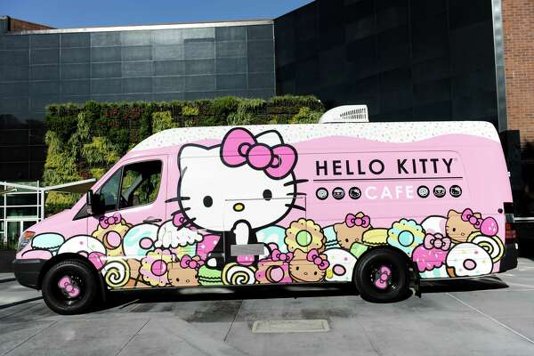 The Hello Kitty Cafe Truck will make a two-day appearance at the Woodlands Mall Feb. 27 and 28. It is the first time the truck will be visiting Texas. The truck sells macaron box sets, mini cakes, cookies and bow-shaped water bottles.