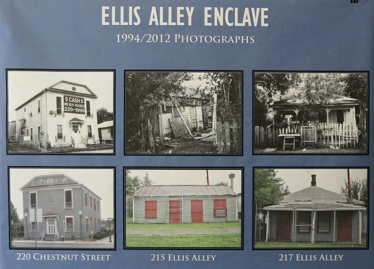 VIA Metropolitan Transit earned a state award for its restoration of several historic buildings in the Ellis Alley Enclave on San Antonio's near East Side. The renovation was a partnership with the city and the San Antonio Conservation Society. A poster inside one of the buildings in 2004 shows the condition of the structures before renovation.