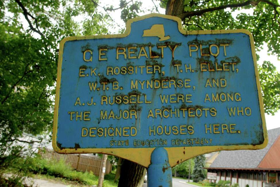 Historic Sign welcoming people to the GE Realty Plot. On Sunday, Aug. 11, 2019, a merchandise security tag wrapped in tin foil caused a bomb scare in the neighborhood.