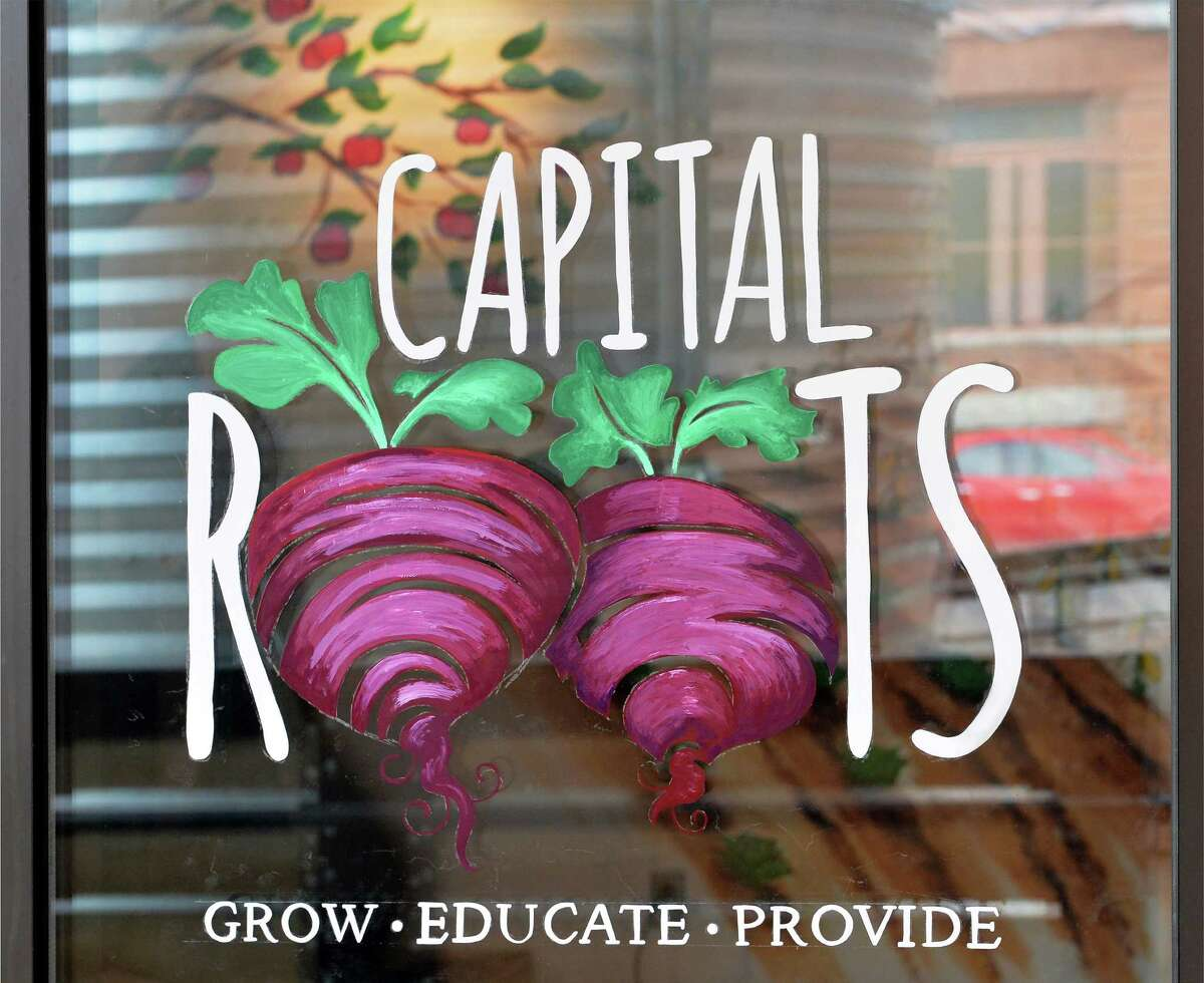 Capital Roots logo on their front door Friday Jan. 15, 2016 in Troy, NY. (John Carl D'Annibale / Times Union)