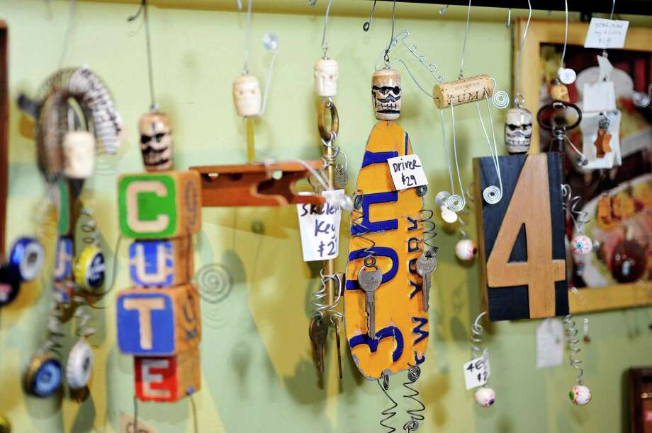 A view of some of the skeleton guys artwork made by Elissa Halloran, owner of Elissa Halloran Designs on Lark Street,  seen here on Thursday, Jan. 14, 2016, in Albany, N.Y.  (Paul Buckowski / Times Union) Photo: PAUL BUCKOWSKI / 10034977A