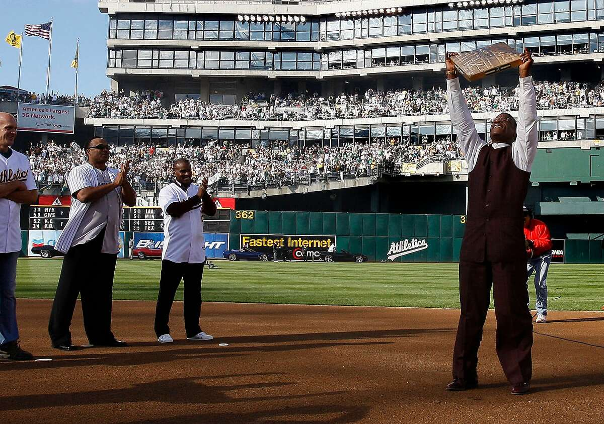Tony Phillips, (third from left) was at the Coliseum for the ceremony to retire Rickey Henderson's #24 in 2009.