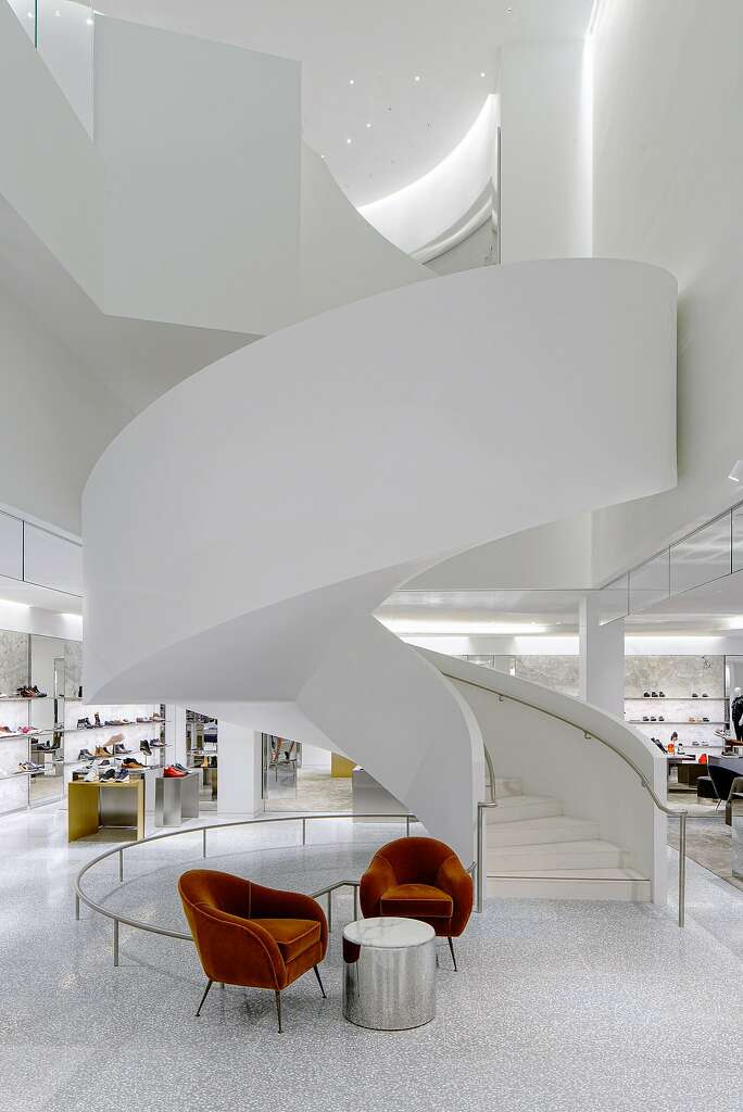 Both Barneys New York men's store in San Francisco and its new Chelsea location feature swooping modernist staircases. Photo: Drew Altizer Photography