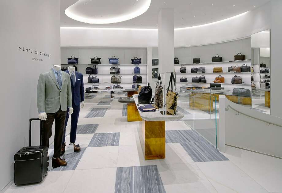 Barneys New York has opened a stand-alone men's store in San Francisco adjacent its women's store to better serve the growing men's market. The first level's floor-to-ceiling abba gray marble is the backdrop for leather bags, sunglasses and other accessories. Photo: Drew Altizer Photography