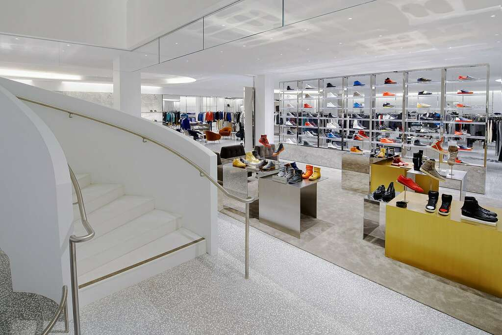 Shoes have a prominent place at the new Barneys New York stand-alone men's store in San Francisco. The store carries limited-edition sneaker collections, as well as apparel lines that include the store's house brand, Exclusively Ours (XO), as well as Public School, Hood by Air, NSF, Fear of God and the NBA star-designer mashup of Russell Westbrook x Tim Coppens. Photo: Drew Altizer Photography