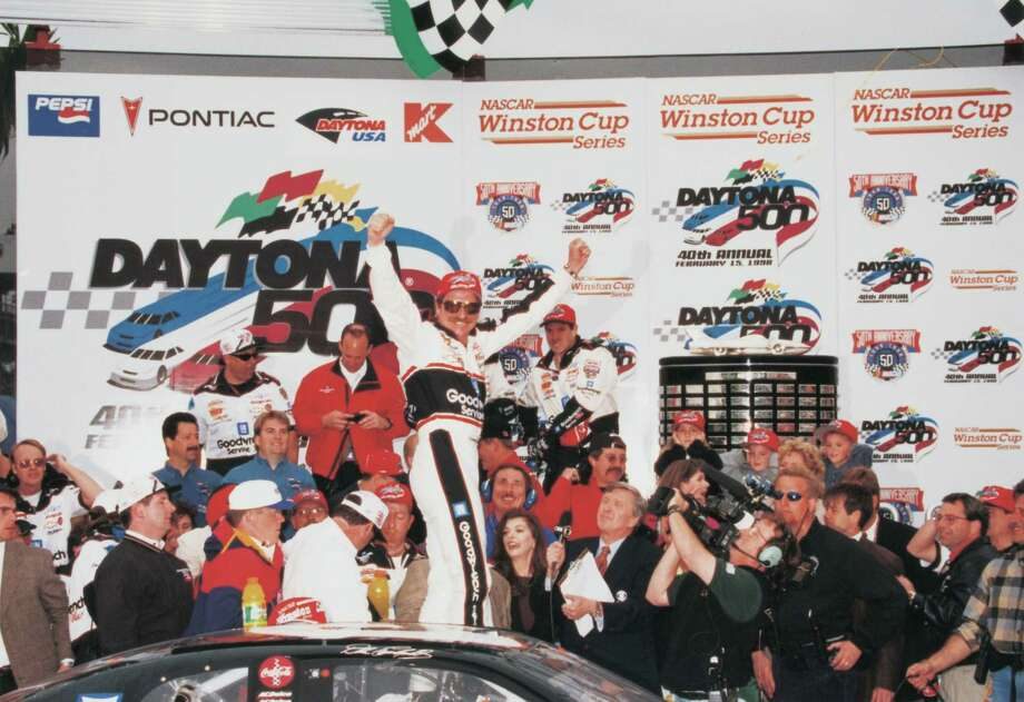 DAYTONA BEACH, FEBRUARY 15:  Dale Earnhardt Sr. (April 29, 1951?February 18, 2001) driver of the #3 GM Goodwrench Chevrolet celebrates in victory lane after winning the 1998 NASCAR Winston Cup Daytona 500 at the Daytona International Speedway on February 15, 1998 in Daytona Beach, Florida. Photo: RacingOne, Getty Images / 1998 RacingOne