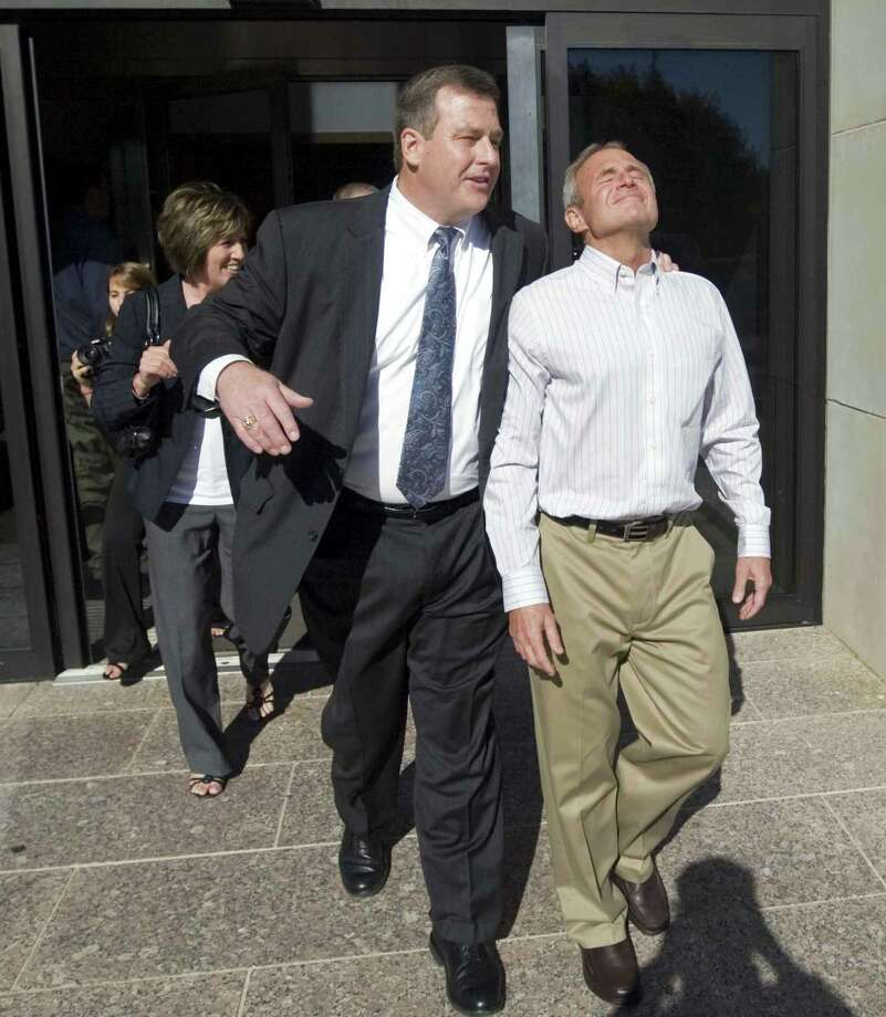 Michael Morton, right, is perhaps the most famous of those exonerated in Texas after wrongful conviction, but he is hardly alone. Texas led the nation in exonerations in 2015, with 54. Here, Morton leaves the Williamson County Justice Center in Georgetown, Texas, with lawyer John W. Raley after a judge freed him in 2011. Morton spent nearly 25 years in prison in his wife's beating death. DNA tests showed another man was responsible. Photo: Ricardo B. Brazziell /Associated Press / AP2011