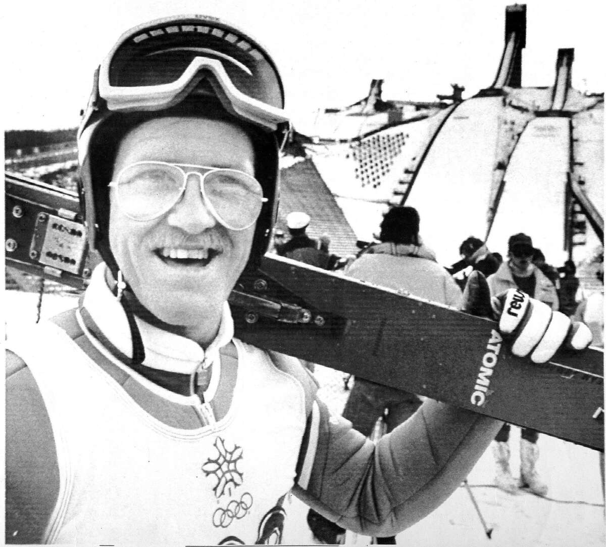 Eddie Edwards known as Eddie the Eagle a Great British ski jumper was a relative novice .. he was given a equipment by other skiers as what he came to Calgary with was substandard UPI PHOTO Photo ran 02/23/1988, p. D3