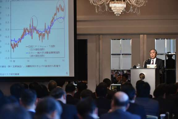 Bank of Japan Governor Haruhiko Kuroda (R) delivers a speech during a lecture hosted by a news agency in Tokyo on February 3, 2016. Kuroda spoke after the central bank unexpectedly slashes interest rates into negative territory for the first time.   AFP PHOTO / KAZUHIRO NOGIKAZUHIRO NOGI/AFP/Getty Images