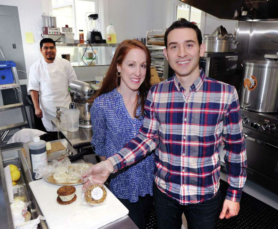 Husband and wife, Mike and Krista Pietrafeso run Ada's Kitchen + Coffee in Greenwich and plan to open a new restaurant, Roast, in Darien.  Photo: Bob Luckey Jr. / Hearst Connecticut Media / Greenwich Time