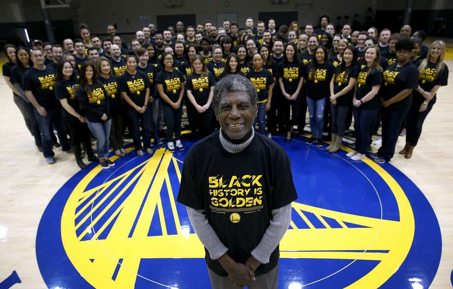 Golden State Warriors legend Alvin Attles joins front office employees to wear a T-shirt designed by Andre Iguodala in honor of Black History Month at the team's headquarters in Oakland, Calif. on Friday, Feb. 19, 2016. Photo: Paul Chinn, The Chronicle