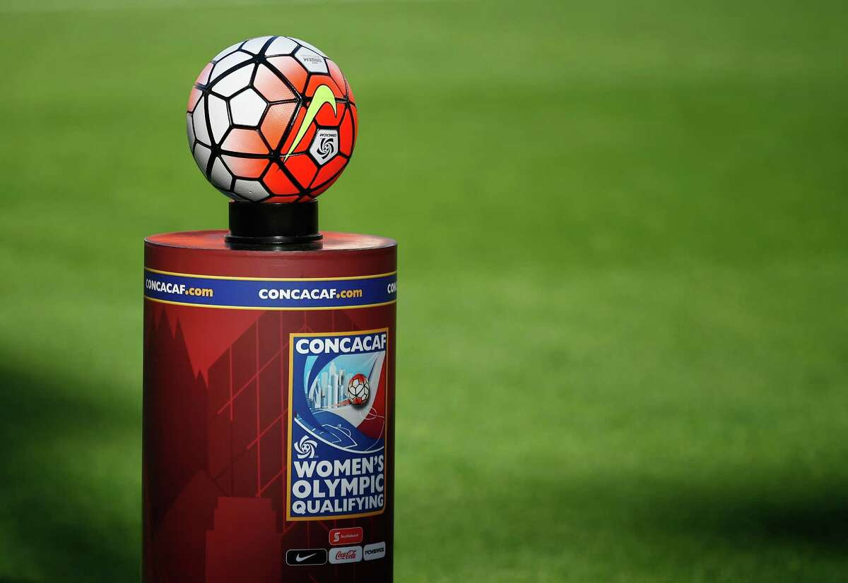 HOUSTON, TX - FEBRUARY 19: The match ball is seen on the pitch before the start of the game between Canada and Costa Rica in the Semifinal of the 2016 CONCACAF Women's Olympic Qualifying at BBVA Compass Stadium on February 19, 2016 in Houston, Texas.