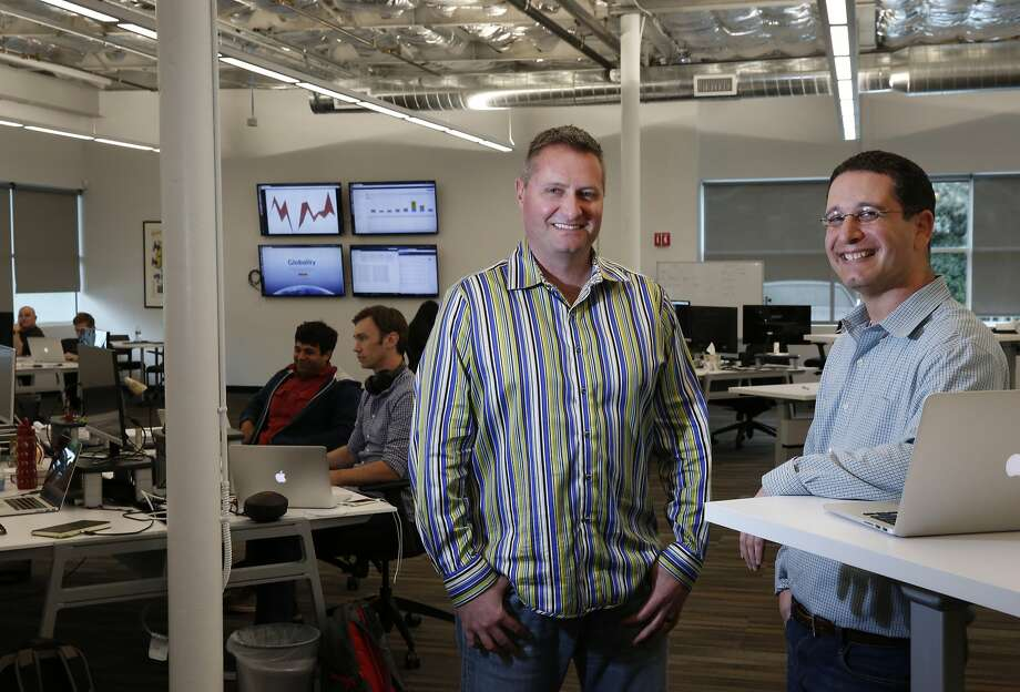 Tim Wenzel (left) is head of talent acquisition and Ran Harpaz is chief technical officer at Globality, which uses Woo. Photo: Leah Millis, The Chronicle