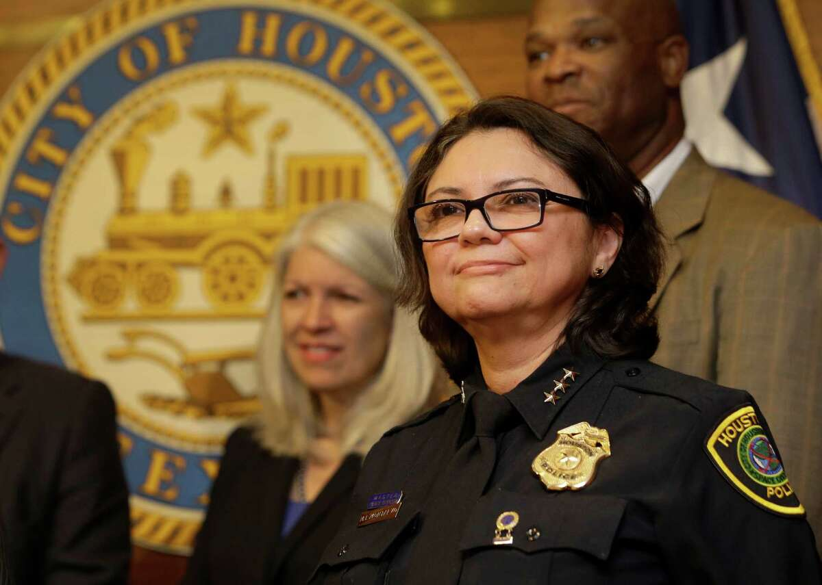 Martha Montalvo was named as interim police chief by Houston Mayor Sylvester Turner during a news conference Thursday. The 56-year-old veteran has been an executive assistant chief since 2004. ( Melissa Phillip / Houston Chronicle )