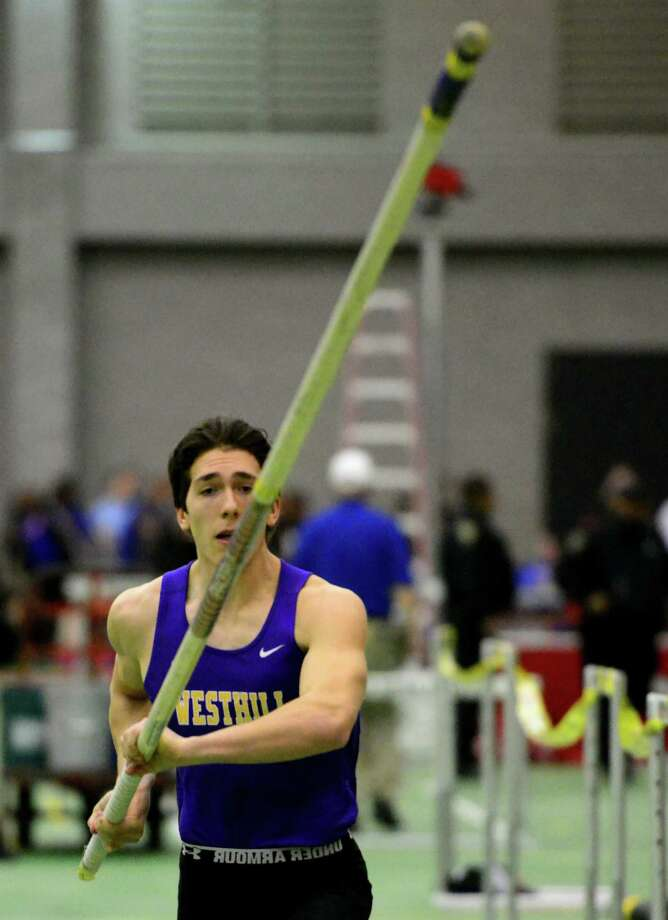 Westhill's Marc DeLuca competes in the pole vault event during CIAC Class LL Indoor Track and Field Championships in New Haven, Conn. on Thursday Feb. 11, 2016. Photo: Christian Abraham / Hearst Connecticut Media / Connecticut Post