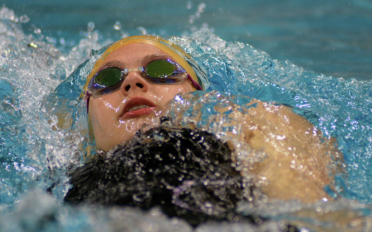 Stratford sophomore Morgan Reyna swims the backstroke during her heat of the Girls 200 Yard IM during the Conference 5A prelims at the 2016 UIL State Swimming and Diving Championships at the Texas Swim Center in Austin on Friday, Feb. 19, 2016. (Photo by Jerry Baker/Freelance)