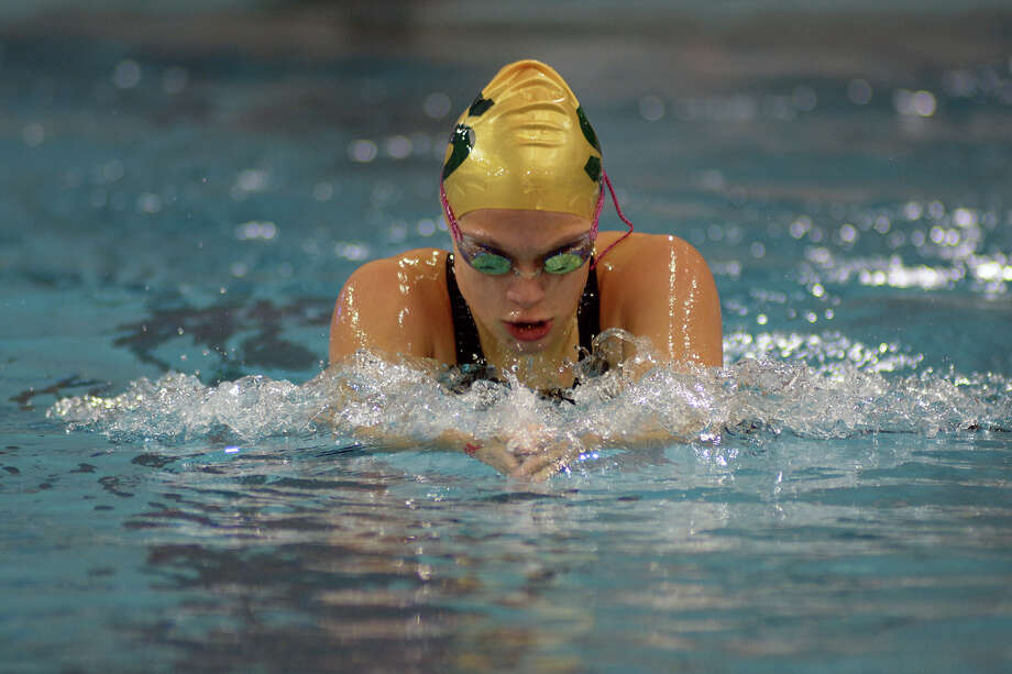Stratford sophomore Morgan Reyna swims the breaststroke during her heat of the Girls 200 Yard IM during the Conference 5A prelims at the 2016 UIL State Swimming and Diving Championships at the Texas Swim Center in Austin on Friday, Feb. 19, 2016. (Photo by Jerry Baker/Freelance) Photo: Jerry Baker, For The Houston Chronicle