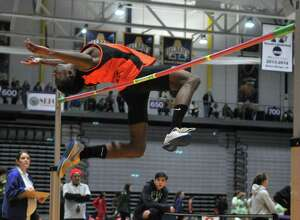 Malick Diamonde of Bethleham High School wins second for the boys' high jump during the Section II Division I championships for high school track in the SEFCU Arena on Friday, Feb. 19, 2016, in Albany, N.Y. (Brittany Gregory / Special to the Times Union)