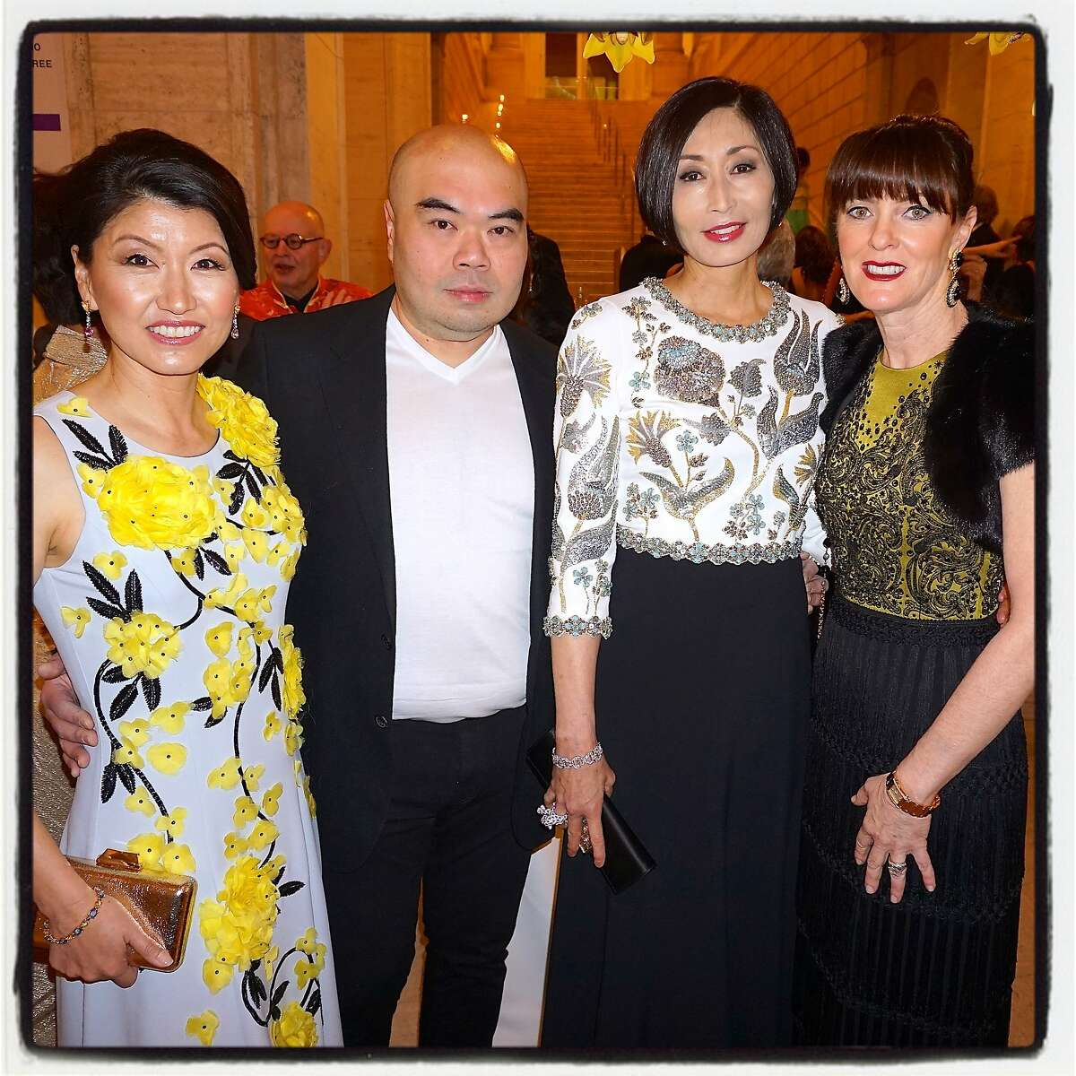 Golden Gala chairwoman Akiko Yamazaki (left), fashion designer Andrew Gn, Yurie Pascarella and Allison Speer (all wearing Gn gowns) at the Asian Art Museum party.