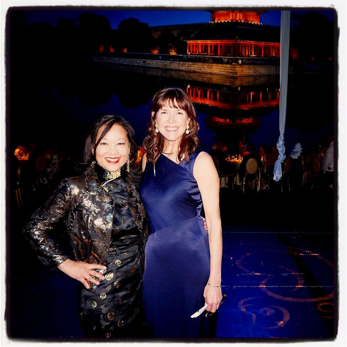 S.F. Symphony Chinese New Year Concert & Imperial Dinner chairwomen Patricia Lee-Hoffman (left) and Leigh Wasson celebrate Year of the Monkey at Davies Hall. Feb 2016