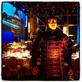 An actor poses as a Terra Cotta Warrior inside Zellerbach Hall for the Year of the Monkey celebration at the SF Symphony Chinese New Year Concert & Imperial Dinner at Davies Hall. Feb 2016.