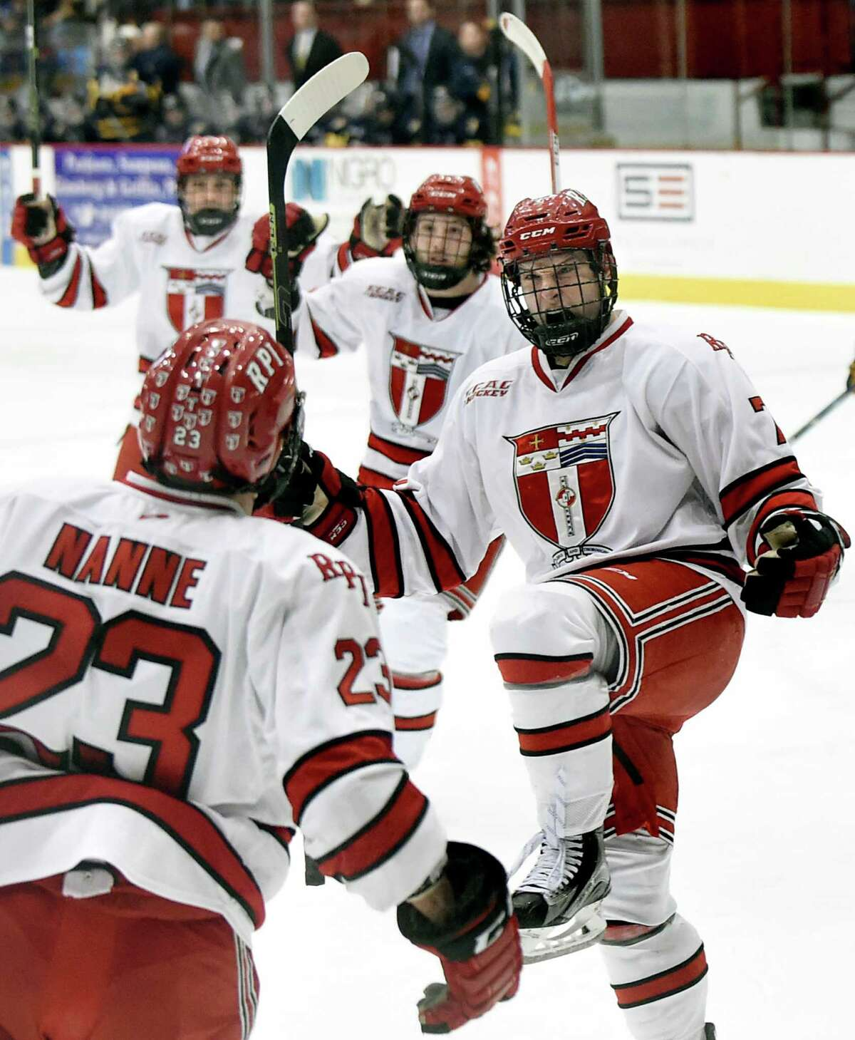 RPI's Zach Schroeder, right, celebrates his second period goal with an assist from teammate Lou Nanne, left, during their hockey game against Quinnipiac on Friday, Feb. 19, 2016, at Houston Field House in Troy, N.Y. (Cindy Schultz / Times Union)