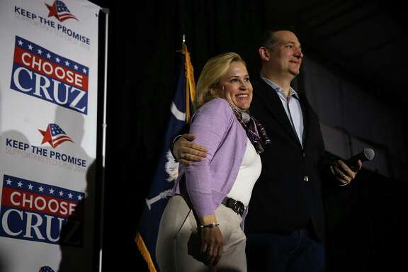 The South Carolina primary is central to Republican presidential candidate Sen. Ted Cruz's southern strategy. He is joined by his wife, Heidi, on stage during a campaign event Friday in West Columbia, S.C.