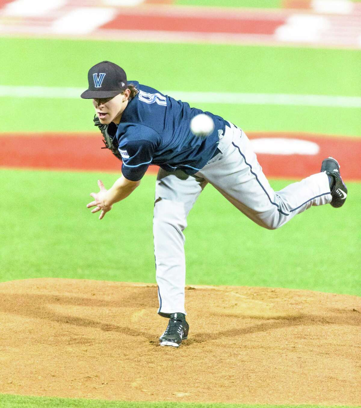 Villanova pitcher Hunter Schryver (8) on the mound in action during the first inning of play betweenVillanova at University of Houston baseball game at the Darryl & Lori Schroeder Park, Friday, Feb. 19, 2016, in Houston. ( Juan DeLeon / For the Houston Chronicle )