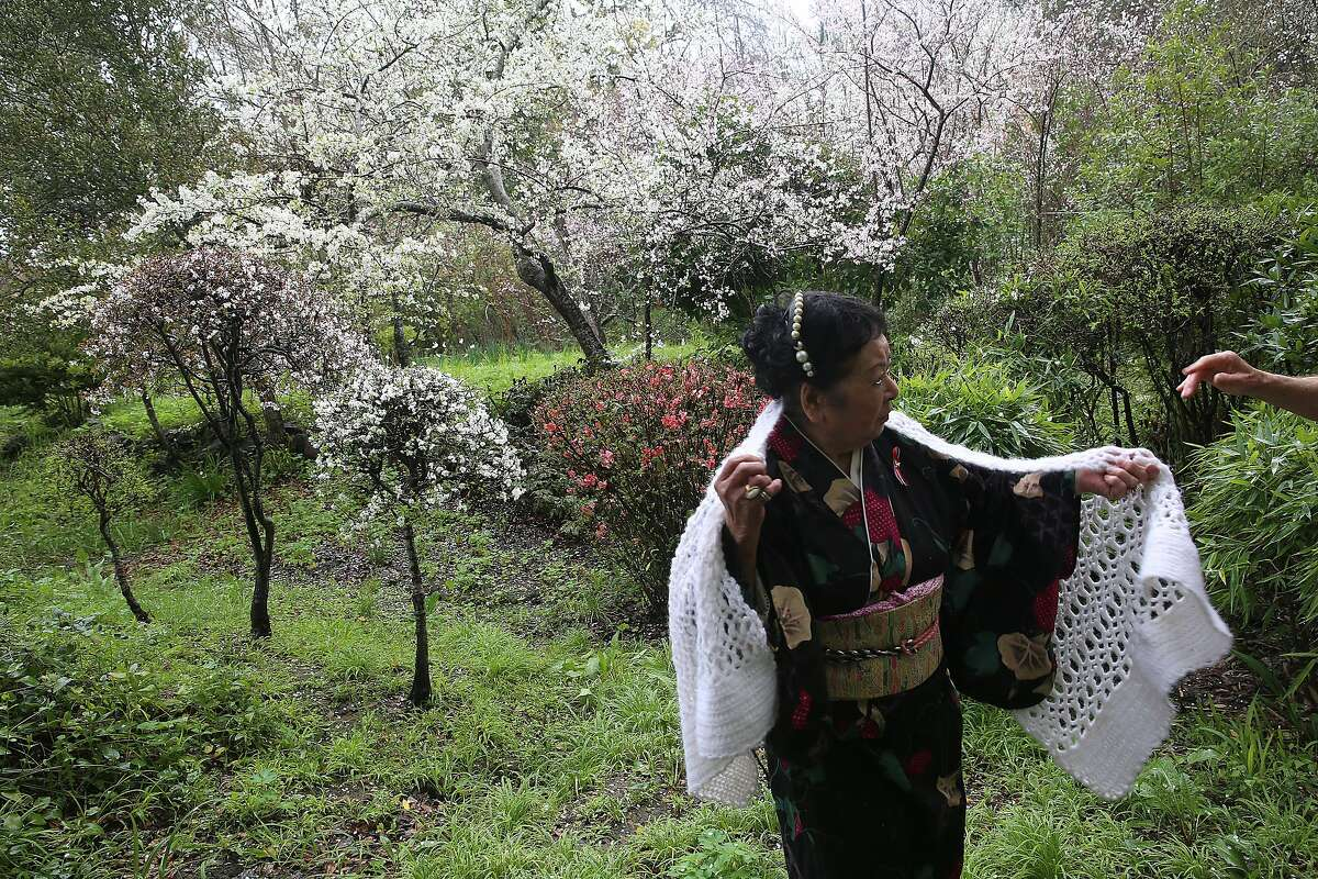 Maria Miyagi Bartuff, 85 years old, a survivor of the sinking of the Japanese freighter tsushima maru in 1944 when she was 13 years old shows her garden with her husband in San Anselmo, California, on Friday, February 19, 2016. The ship carried over 700 school children and was torpedoed by a U.S. submarine.