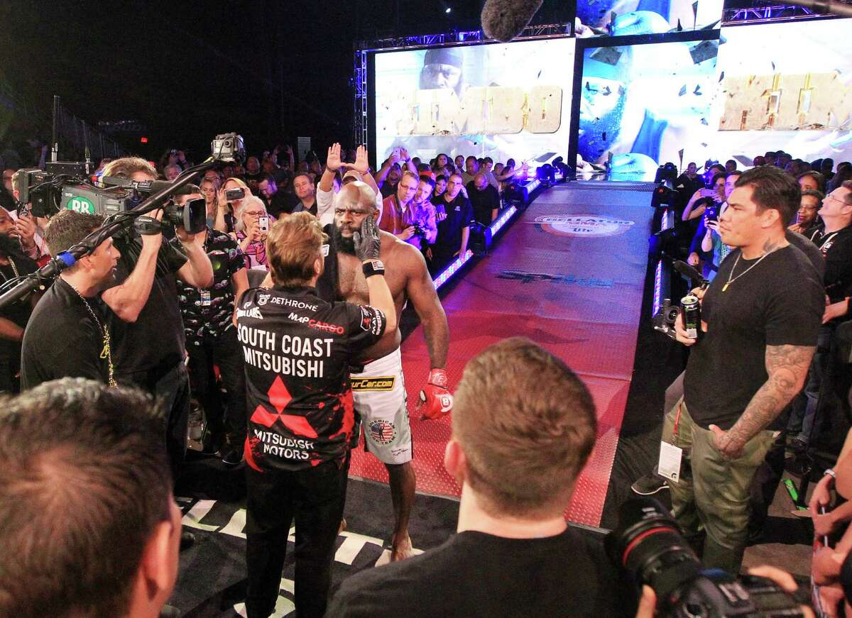 Kimbo Slice prepares to enter the cage before round one of the heavyweight co-main fight during Bellator 149 at the Toyota Center Friday, Feb. 19, 2016, in Houston. Slice won the match with a TKO in the third round.