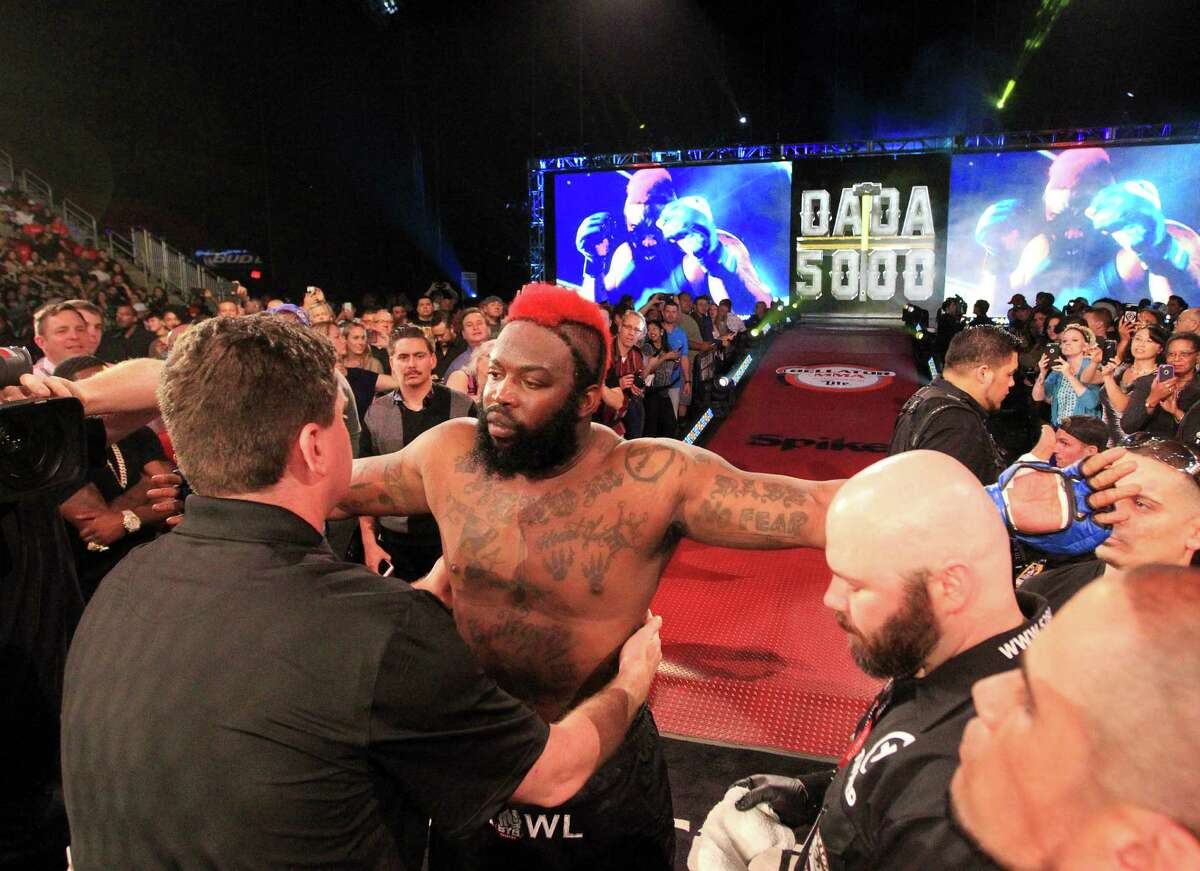 Dada 5000 prepares to enter the cage before round one of the heavyweight co-main fight during Bellator 149 at the Toyota Center Friday, Feb. 19, 2016, in Houston. Slice won the match with a TKO in the third round.