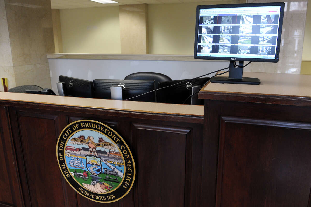 A new security desk has been installed in the lobby of Bridgeport City Hall, in Bridgeport, Conn. Feb. 17, 2016.