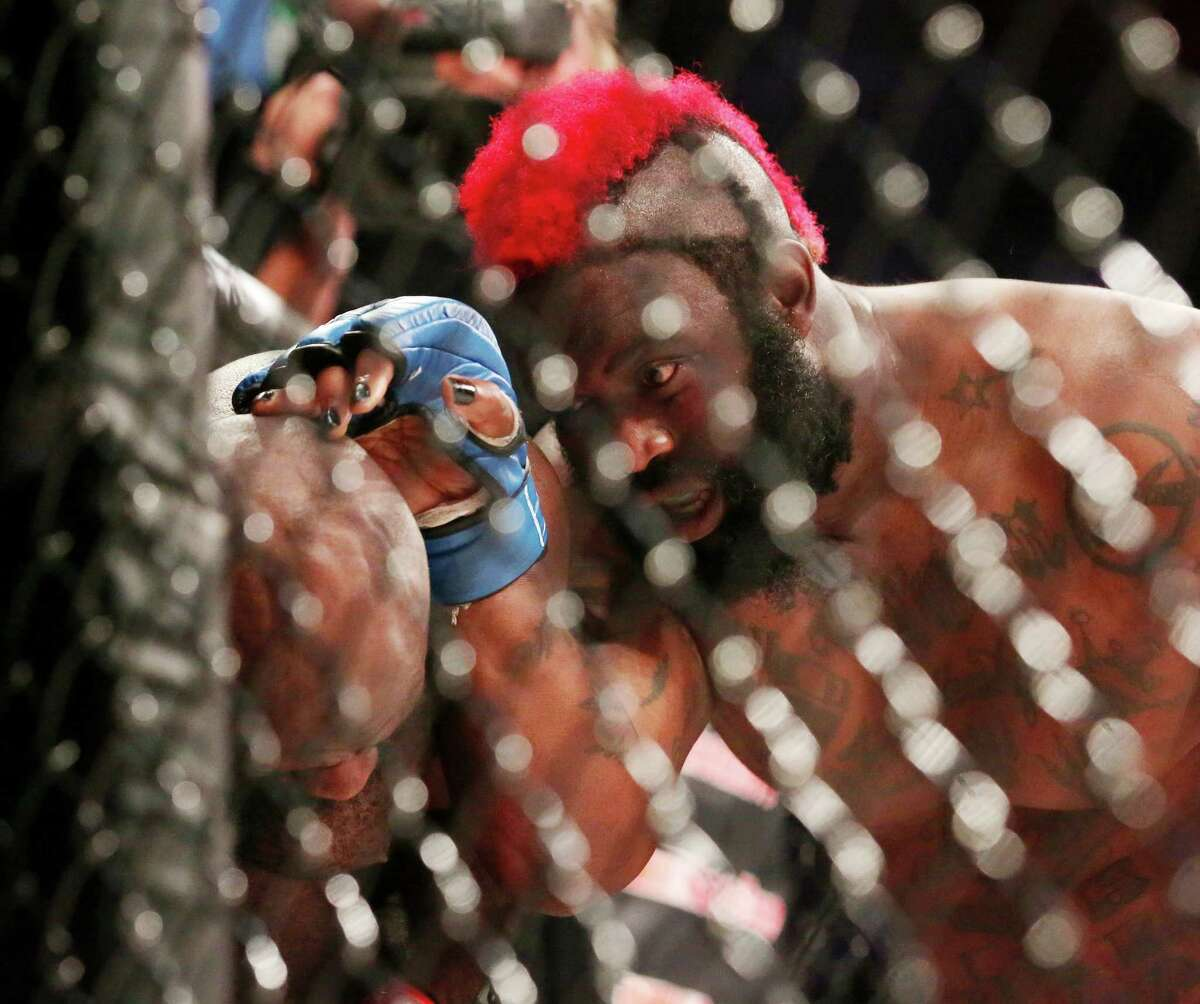 Dada 5000 is seen during round two of his heavyweight co-main fight against Kimbo Slice during Bellator 149 at the Toyota Center Friday, Feb. 19, 2016, in Houston. Slice won the fight with a TKO in the third round and Dada 5000 left the cage on a stretcher